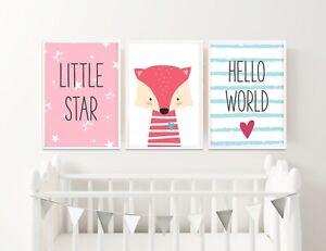 Girls Set of 6 Bright Cute Animal Prints Posters Girls//Baby Bedroom//Playroom