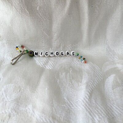 Audacious Nicholas Boys Or Mens Personalized Beaded Keychain-new-handmade Sturdy Construction