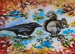 ACEO-original-miniature-painting-Acrylic-Art-Squirrel-amp-Raven-Shared-Reality