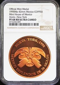 Mexico-1-oz-1990-Copper-Mexican-Mint-MedalNew-York-NGC-PF68-RB-Ultra-Cameo
