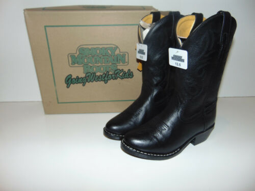 SMOKY MOUNTAIN BLACK LEATHER DENVER 3032C Kid/'s Cowboy Western Boots Shoes NEW