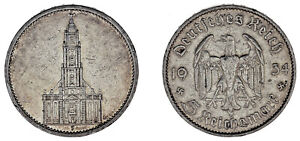 5-REICHSMARK-GERMANY-5-MARCOS-ALEMANIA-IGLESIA-POTSDAM-CHURCH-1934-F-VF-MBC