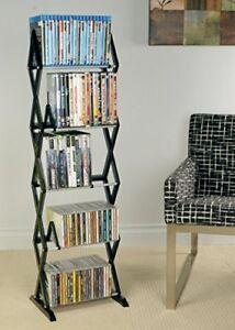 Image Is Loading DVD Tower Stand Bluray CD Organizer Rack Shelf