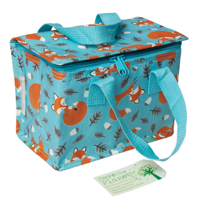 dotcomgiftshop LUNCH BAG RUSTY THE FOX DESIGN. RECYCLED INSULATED COOL WARM BAG
