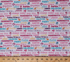 Barbie Words Princess Jewels Girls White Cotton Fabric Print by Yard D760.02