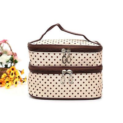 Large Polka Dot Makeup Bag Organizer Travel Cosmetic Box Cute Toiletry Bag Case