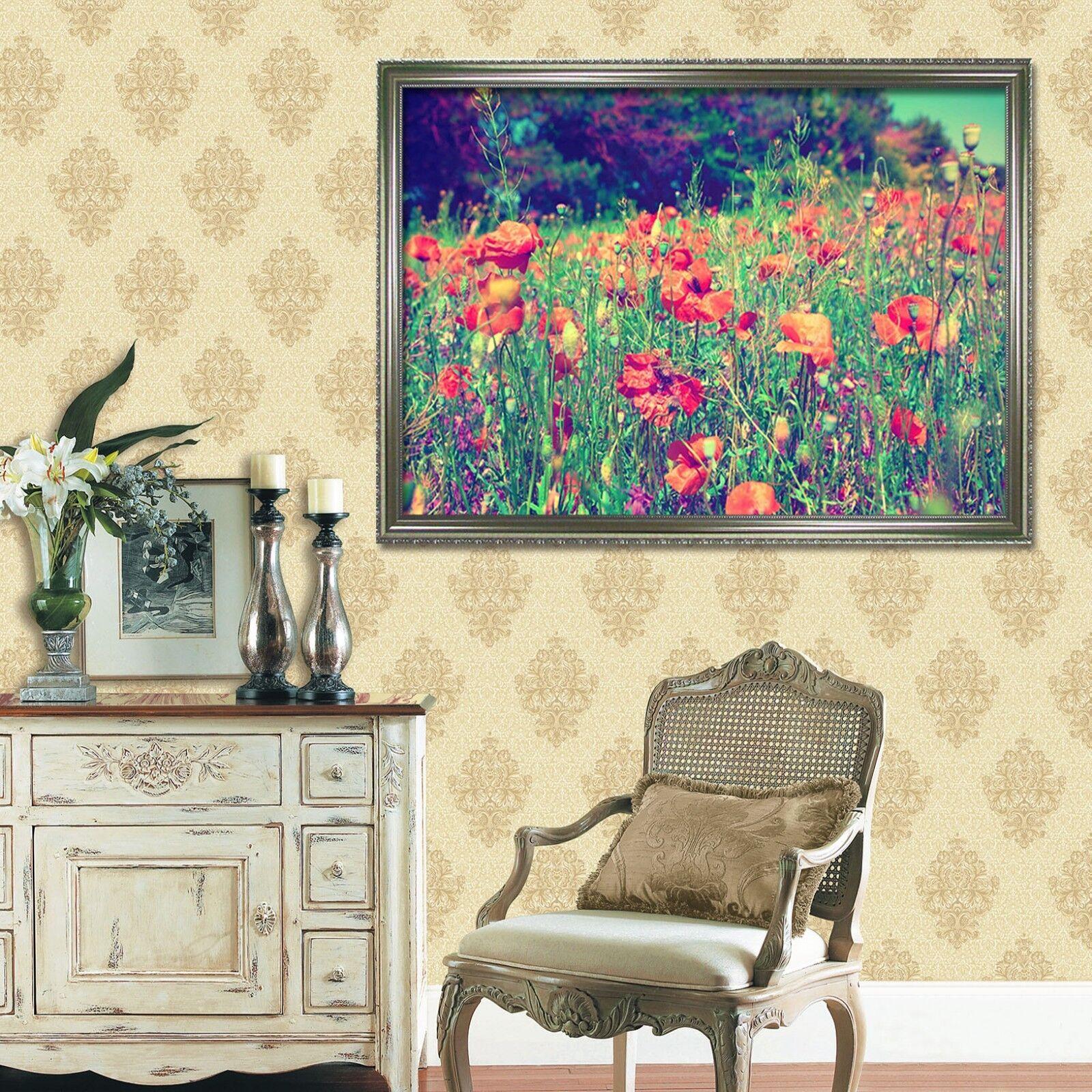3D Nature Red Flowers 1 Framed Poster Home Decor Print Painting Art AJ WALLPAPER