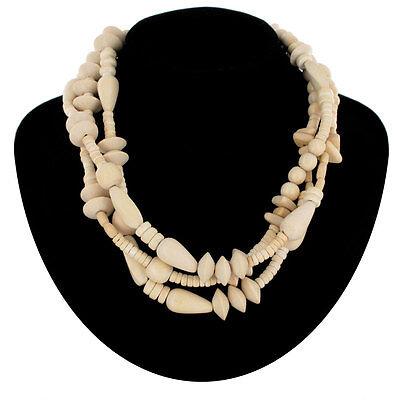 "Necklace Layered Three Strand Layered Safari Natural Wood 19"""