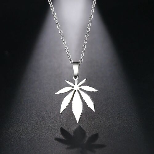 Details about  /Cannabis Leaf Necklace Pendant Ganja Weed Pothead Men Women Chain Silver Gold