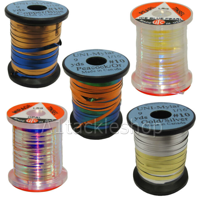 CRAFTS FLY TYING 20 METRES OF HOLOGRAPHIC OR ORANGE PEARL FLAT TINSEL ON CARD