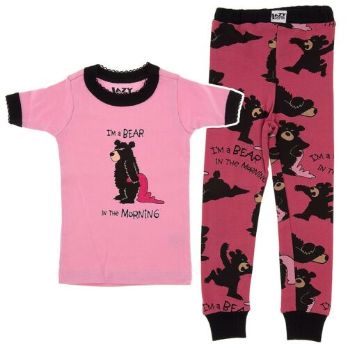 Lazy One Girls Toddlers Pink I/'m a Bear in the Morning 100/% Cotton Pajama Set