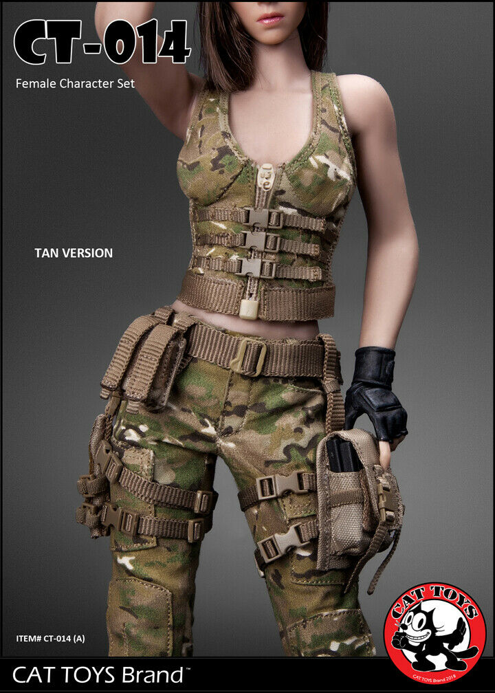 Cat Toys 1 6  Military Female Character Set in Tan 014A  coloris étonnants
