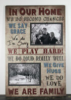 Rustic Handmade Wood Family Rules 4 X 6 Picture Frame Photo Sign Home Decor 1040