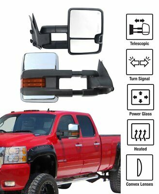 Power Heated LED Signal Chrome Mirror L+R for 2014-2018 Chevy Silverado GMC 1500