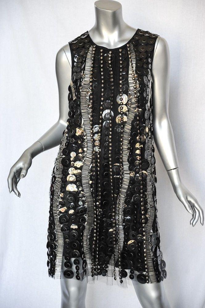 Collette Dinnigan Schwarz mit Juwelen Besetzt Paillette+Perlen+Kristallen