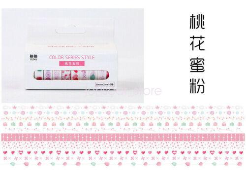 10pcs//Box Washi Tape Rolls Decorative Sticky Paper Masking Adhesive Planner Tape