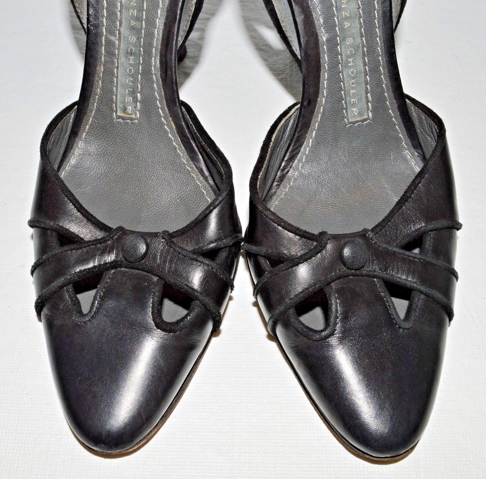 PROENZA SCHOULER SZ D'ORSAY 6 M 36 BLACK LEATHER D'ORSAY SZ PUMPS HEELS DRESS Schuhe ITALY b9824f