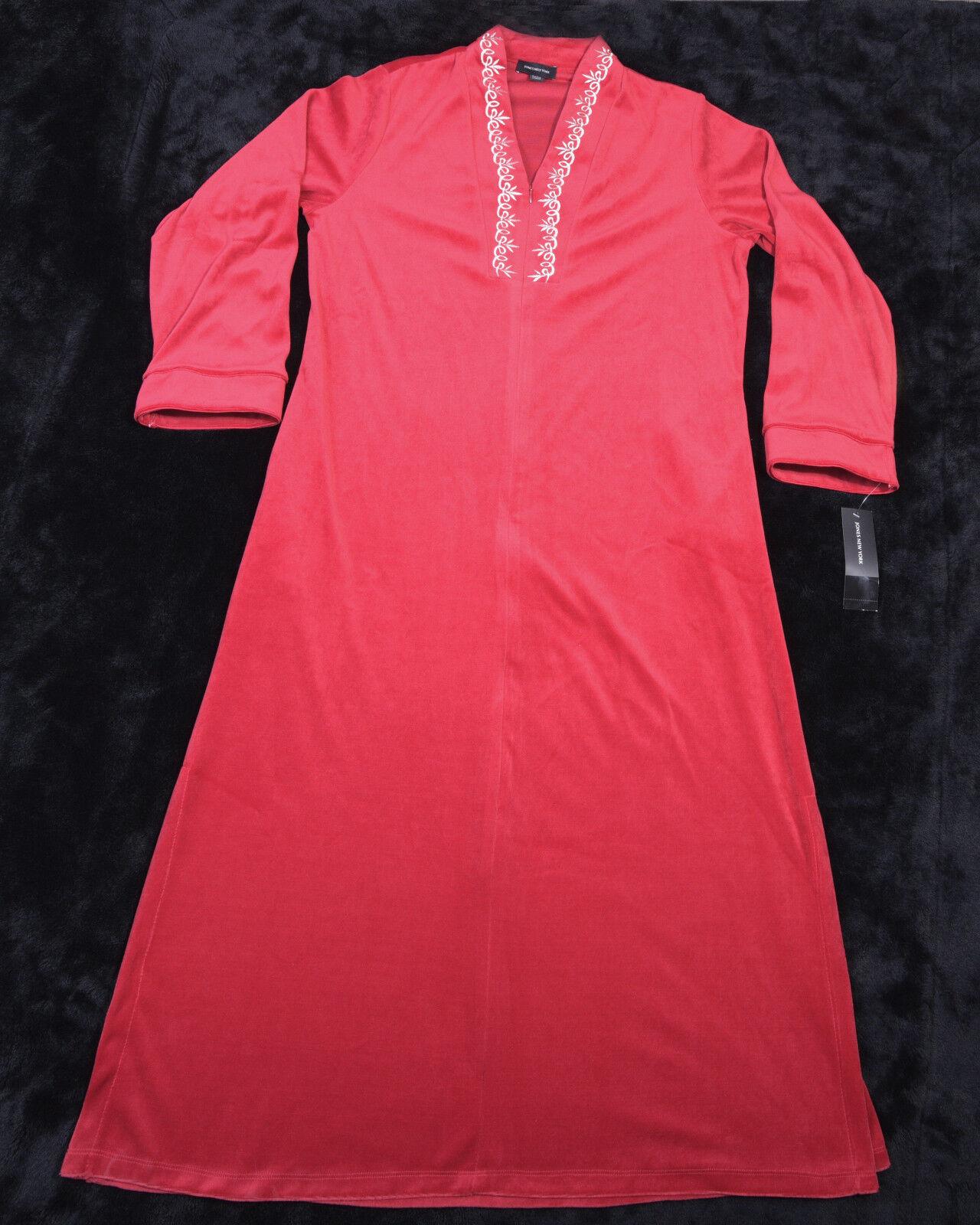 JONES NEW YORK Womens 1 2 Zip SLEEPWEAR HOUSECOAT ROBE Size LARGE L Red NWT NEW