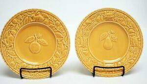 BORDALLO-PINHEIRO-Salad-Plate-8-1-8-034-EMBOSSED-Yellow-Gold-Pear-Apple-Set-of-2