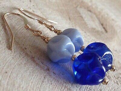 Vintage Czech baby blue glass moulded Art Deco necklace