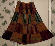 Chicos Velvet Patchwork Broomstick Long Tiered Skirt Boho Gypsy Hippie Festival