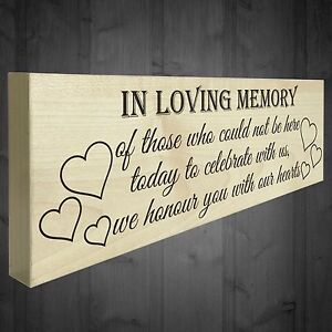 Details about In Loving Memory With Our Hearts Freestanding Wooden Plaque  Wedding Table Sign