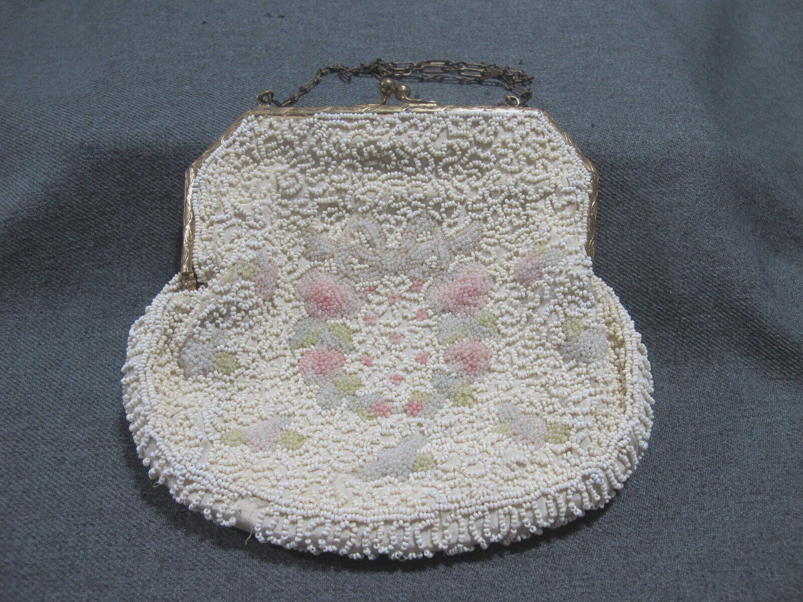 Antique Longchamps France flowers bow wreath microbeaded goldtone frame purse