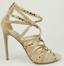 $1135 Gianvito Rossi Beige Nude Suede & Snake Strappy Cage Sandal Heel 41 10.5