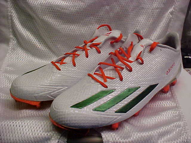 Adidas SM Adizero 5-Star 5.0X KE Wht Green orange Football Cleats AQ6963 Sz 13.5