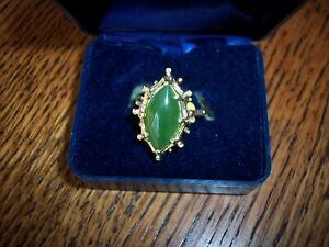 Vintage 14K Gold and Jade Bamboo Finish Ring For 1/2 of Value