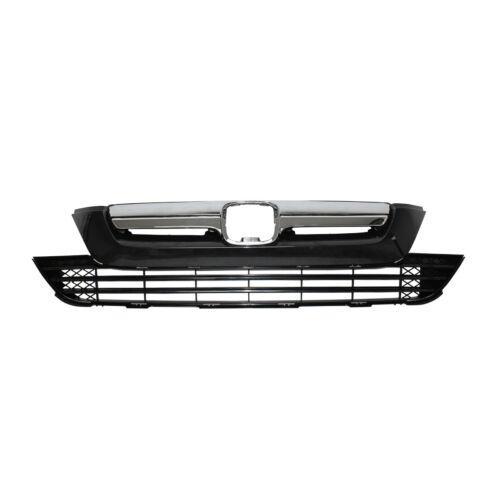 For Honda CRV CR-V 2007-2009 Upper Grille Lower Grill Chrome Front Bumper Grill