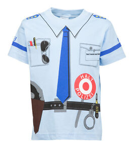 Kinder-Uniform-Kostuem-T-Shirt-Polizei-Blau-92-98-bis-140-146