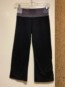 Lululemon-Groove-Crop-Pants-Leggings-Black-Gray-Wide-Leg-Yoga-Size-2-Luon