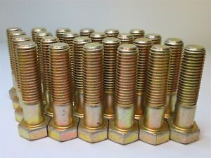 Details about (24) Zinc Yellow Dichromate Alloy Steel Partially Threaded  Hex Screws 3/4-10 x 3