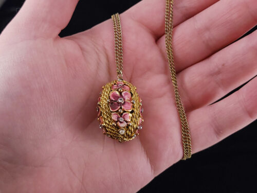 Pink mauve ruby bronze and black vintage style long necklace