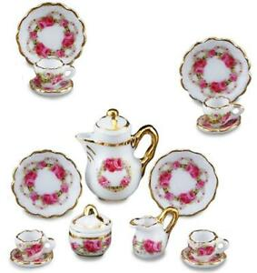 MINIATURE DOLLHOUSE 1:12 SCALE REUTTER HOLLY COFFEE SET FOR 4-1.336//6