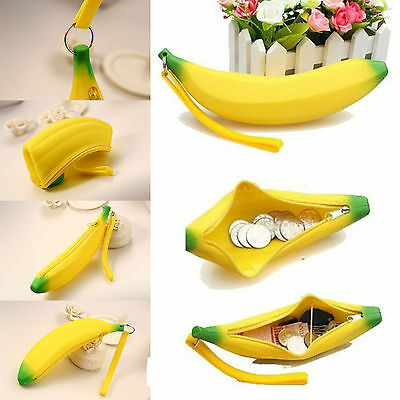 Funny Cute Soft Portable Banana Shaped Coin Cash Pencil Case Purse Bag Keyring