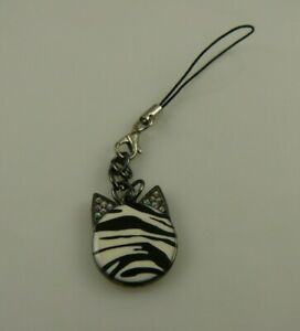 zebra-cat-black-white-blink-Cell-phone-charm-purse-strap