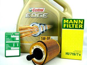 Castrol-5w30LL-Edge-FST-ACEITE-DE-MOTOR-1x-5l-Filtro-Mann-HU719-7x-CAMBIO