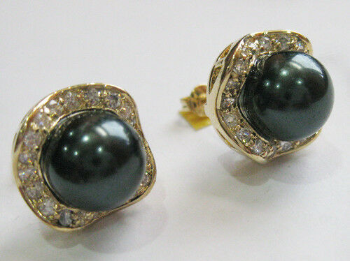 Charm 10mm South Sea Shell Pearl Jade Tiger Eye Stone Gold Plated Stud Earrings