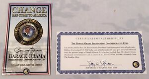 24k Gold Plated Barack Obama Presidential Commemorative Coin w/ COA