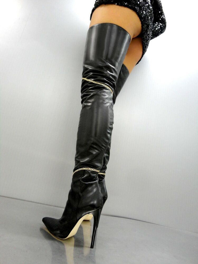 Cq Couture Custom Overknee Botte Stiefel Bottes Or Chaîne Leather Black Noir 43