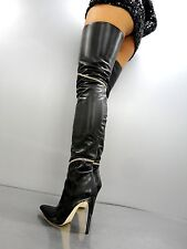 CQ COUTURE COSTOM OVERKNEE BOOT STIEFEL STIVALI GOLD CHAIN LEATHER BLACK NERO 41