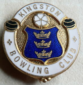 KINGSTON BOWLING CLUB   ENAMEL BADGE  SPORTS - <span itemprop='availableAtOrFrom'> Wiltshire, United Kingdom</span> - KINGSTON BOWLING CLUB   ENAMEL BADGE  SPORTS -  Wiltshire, United Kingdom