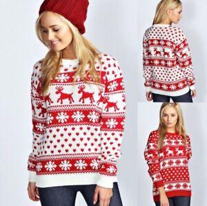 Jersey-Para-Mujer-Damas-Reno-y-Copo-de-Nieve-Navidad-Punto-Top-Jumper-Navidad
