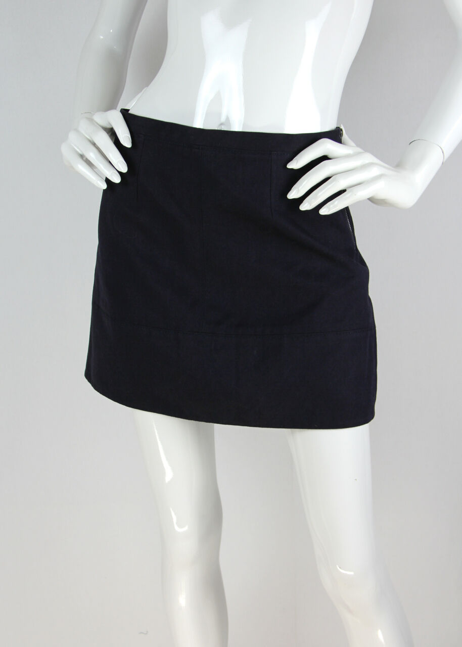 Stella McCartney Sz 40 Mod Mini Skirt Navy Cotton Twill Exposed Side Zip NWT