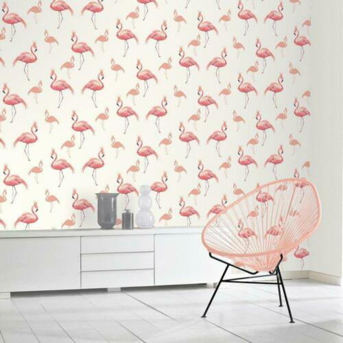 Glitter Flaingo WallpaperCoral SilverKids Bedroom Arthouse 674700