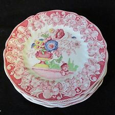 "Four Royal Doulton ~8.5"" Pomeroy Red Plates plus two"