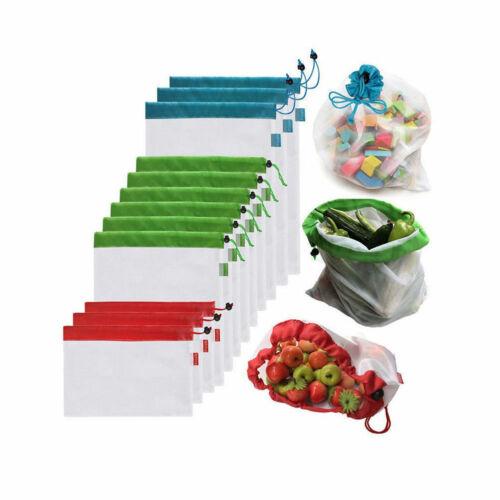 10X Wiederverwendbare Netztaschen für Sacks Obst Gemüse aufbewahrungsBeutel Neu