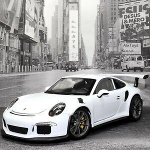PORSCHE-911-GT3-RS-WHITE-1-24-Scala-Die-cast-altamente-dettagliato-auto-da-Welly-NEX